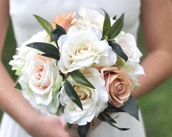 wedding bouquet, wedding flowers, bridal bouquet, blush roses, flower bouquet, peach, silk flowers, destination wedding, wedding, blush2