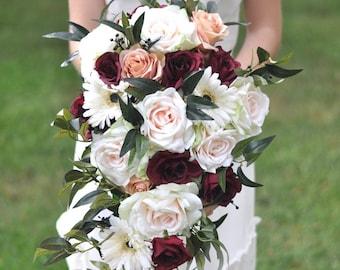 Cascade bridal bouquet, Wedding Flower Bouquet, Wedding Flowers, Bridal Bouquet, Burgundy Bouquet, Bridesmaid Bouquet, Burgundy Flowers.