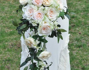 Cascade Wedding Bouquet Blush Rose Apricot Italian Ruscus Waxflower Champagne Keepsake