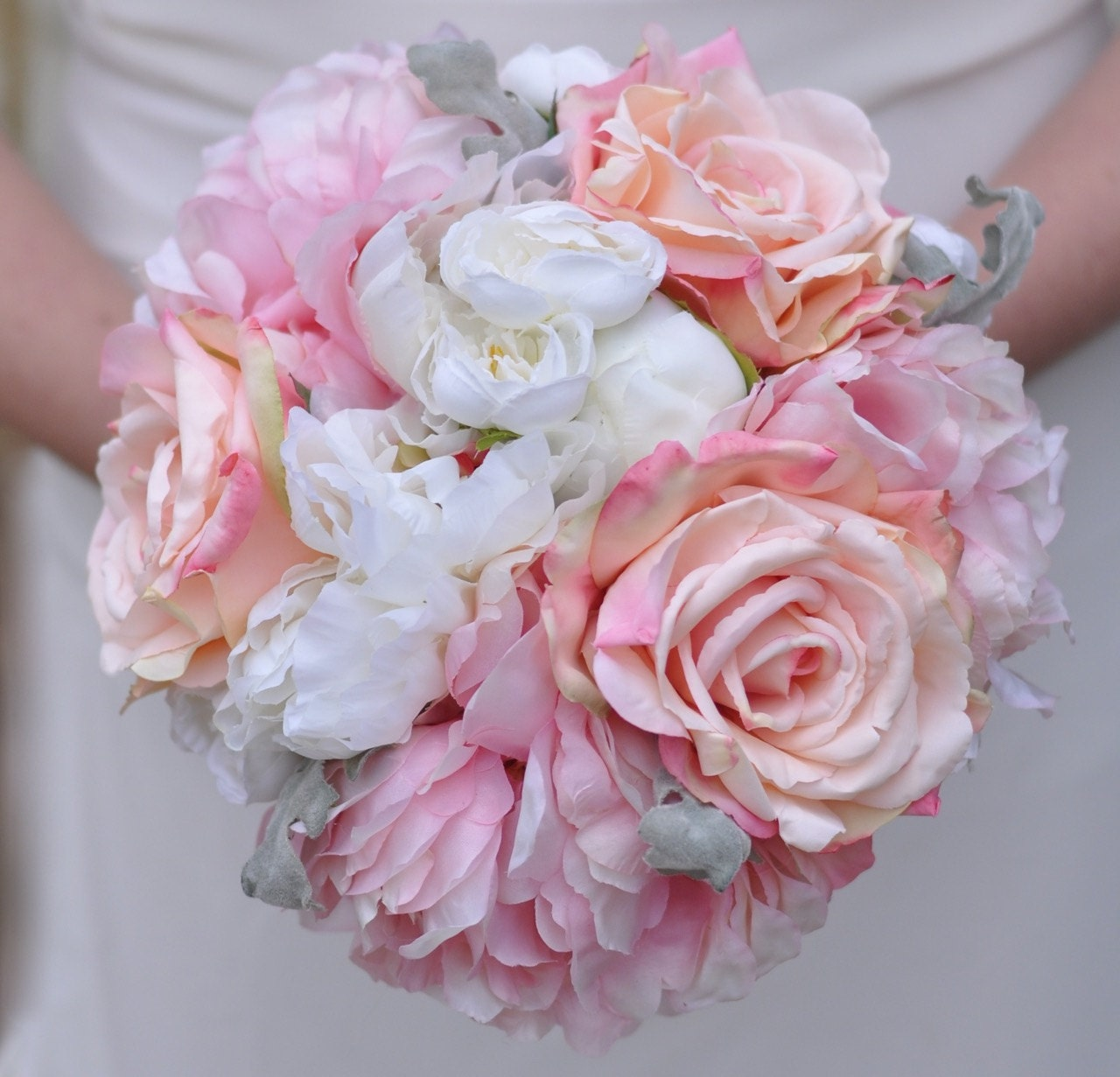 Blush Pink Rose Bouquet Pink Peonies Ivory Ranunculus with   Etsy