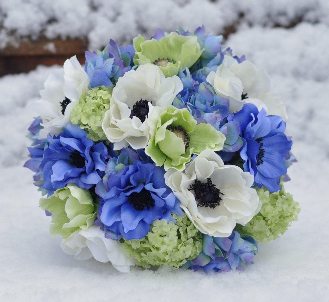 Wedding bouquet lime green anemone green viburnum blue etsy zoom izmirmasajfo