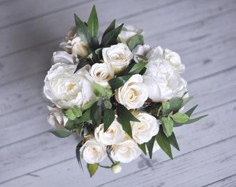 Ivory Roses, Wedding Bouquet, Wedding Flowers, Wedding, Artificial Silk Flowers, Flower Bouquet, Bridal Bouquet, Boho, Bridesmaid Bouquet
