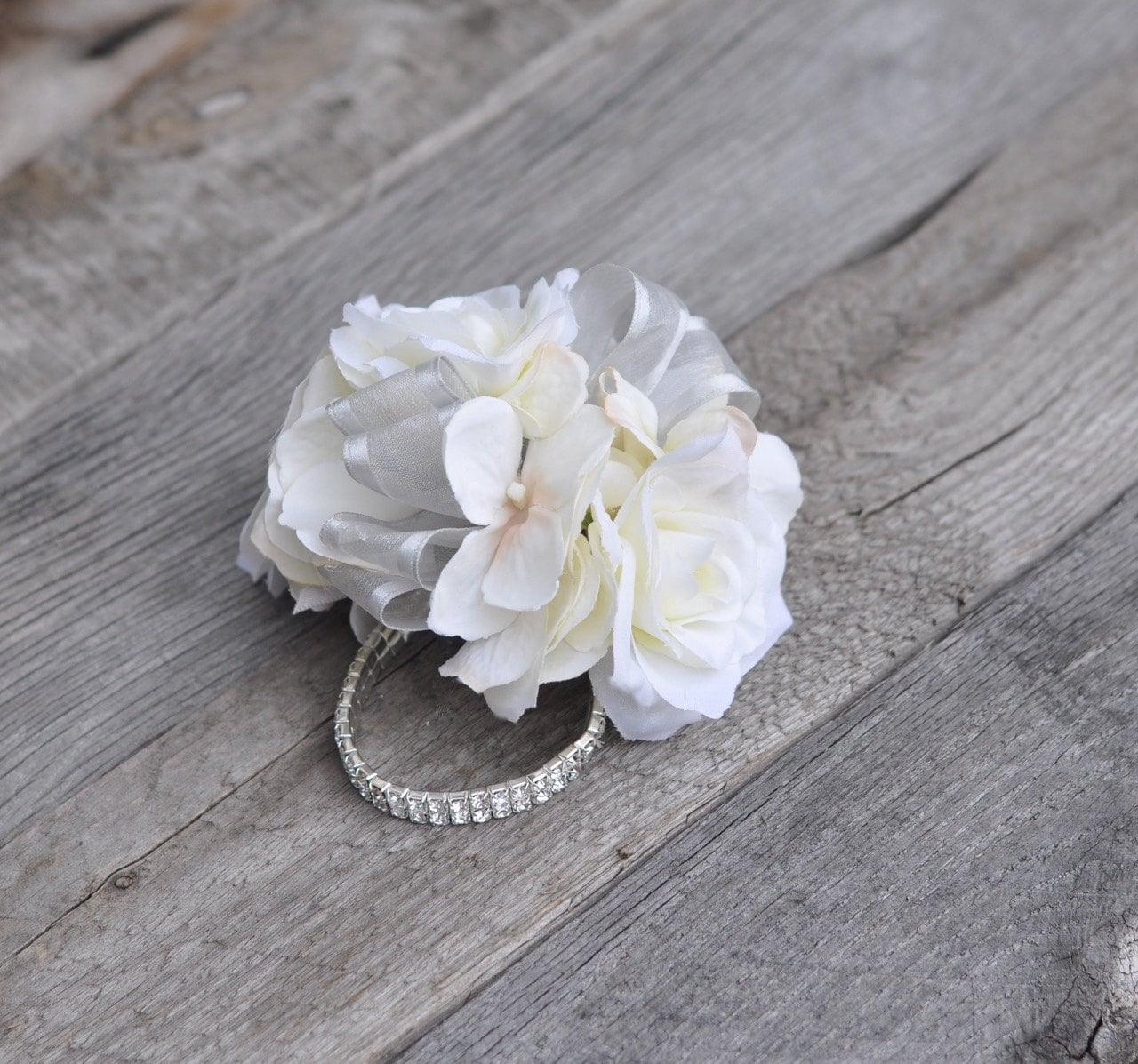 Wrist Corsage Ivory Hydrangea With Ivory Roses Rhinestone Etsy
