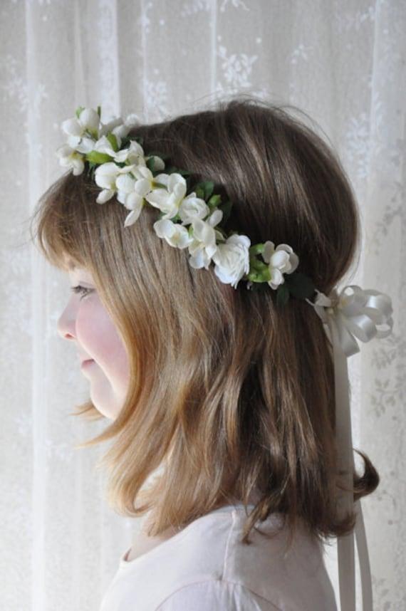 Hochzeitsblumen Elfenbein Blumen Madchen Kopf Kranz Etsy
