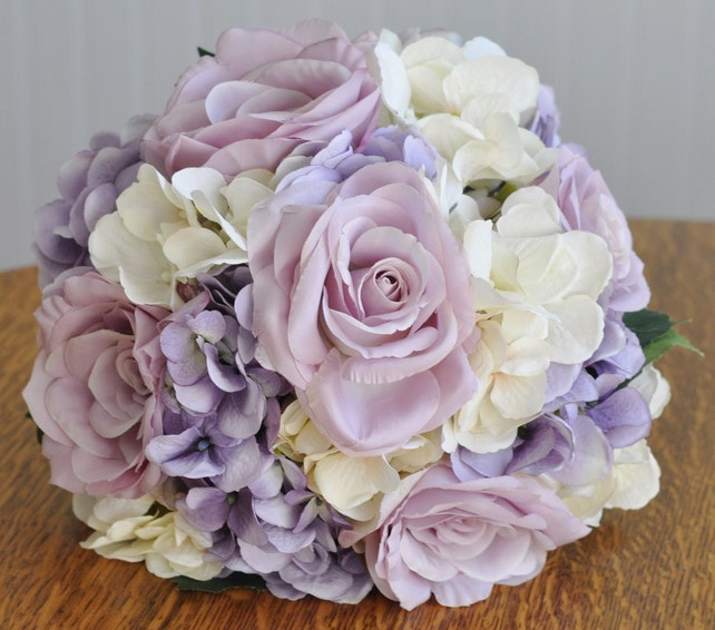 Silk wedding flower bouquet made with lavender roses lavender etsy image 0 mightylinksfo
