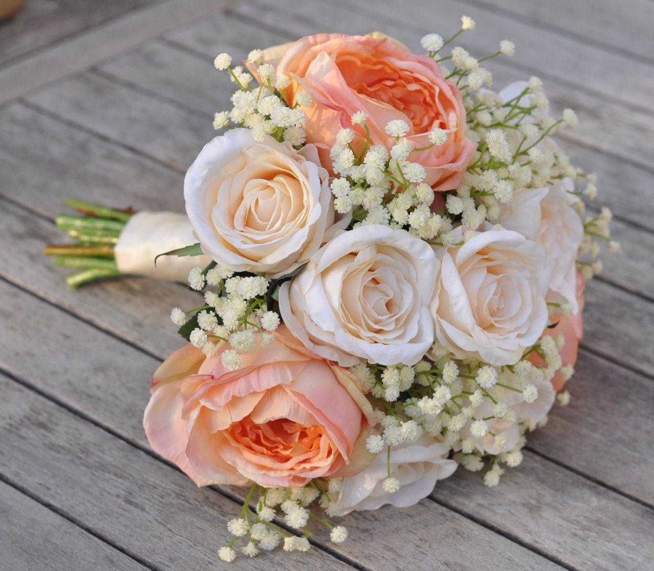 bouquet de mariage pêche chou roses et roses crème en soie | etsy