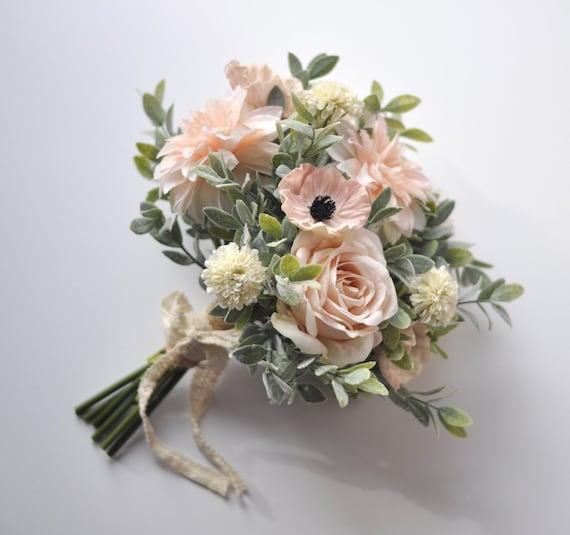 Bridal Bouquet Blush Poppy Wedding Bouquet Wedding Flowers Etsy