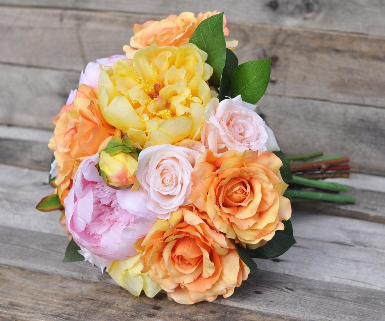 Wedding Bouquet Bridal Bouquet Yellow Peony And Orange Rose Etsy