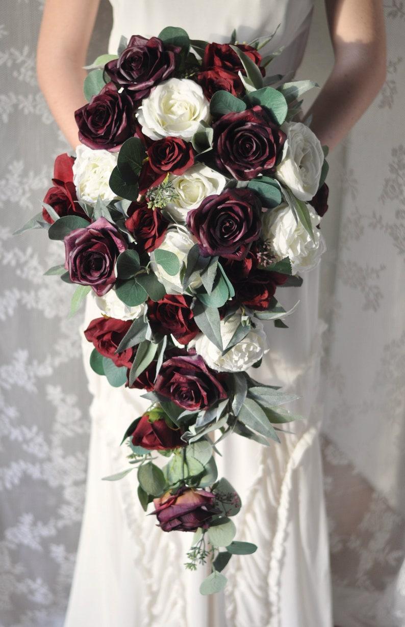 Burgundy Roses Brial Bouquet Purple Roses Silk Flowers Wedding Bouquet Cascade Bouquet Silk Flower Wedding Bouquet Bridal Flowers