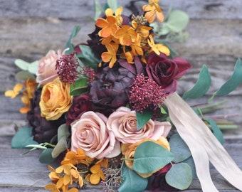 wedding bouquet, wedding flowers, bridal bouquet,burgundy, eucalyptus,peony bouquet, rose, silk flowers, destination wedding, wedding, blush