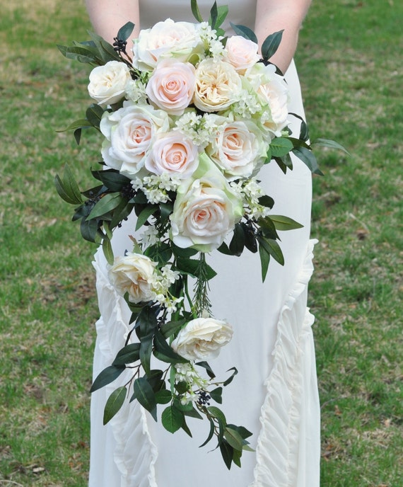 Cascade Wedding Bouquet Blush Rose Apricot Italian