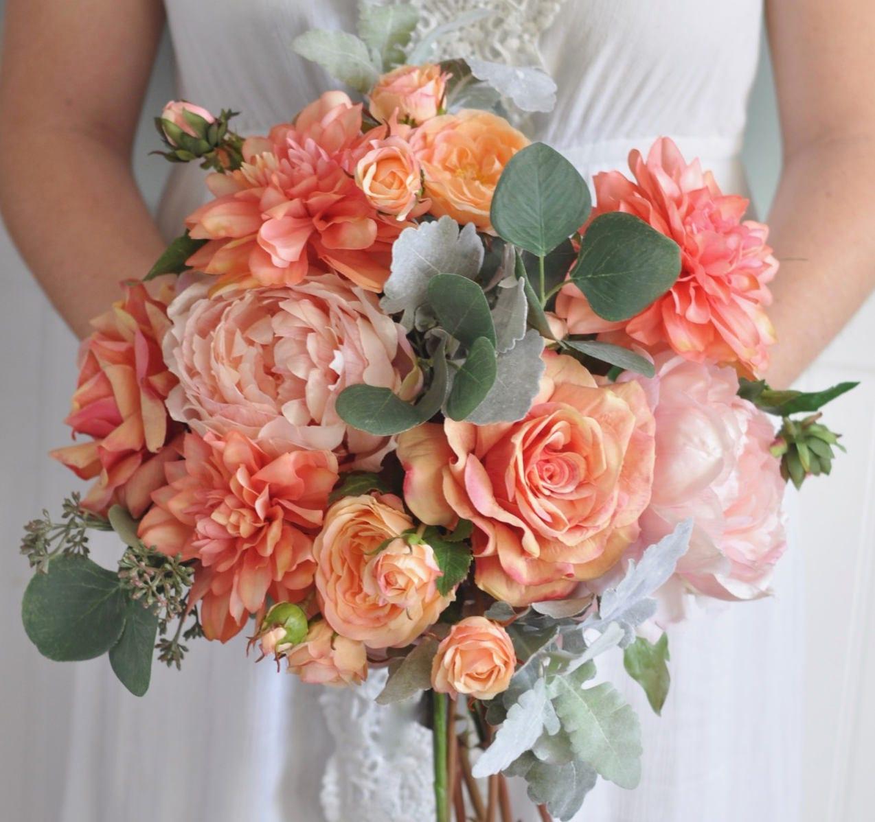Wedding bouquet bridal bouquet silk flower bouquet wedding etsy zoom izmirmasajfo