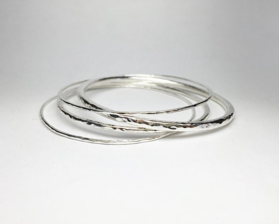 Hammered Bangle Mixed Set of 4