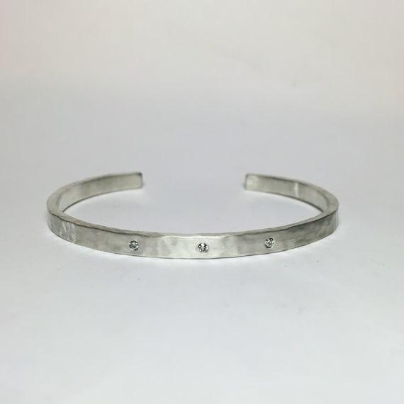 Hammered Diamond Cuff Bracelet