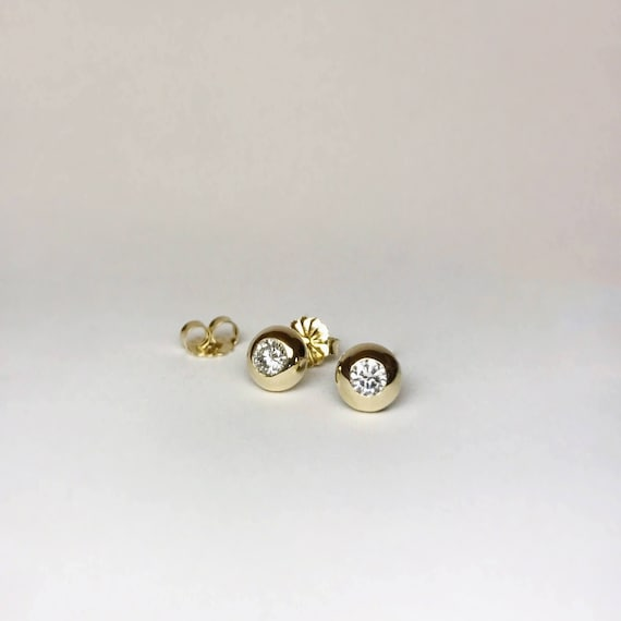 Domed Diamond Bezel Studs