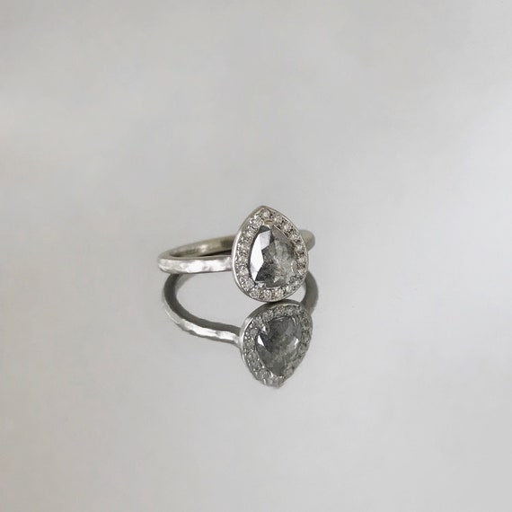 Grey Pear Diamond with Halo