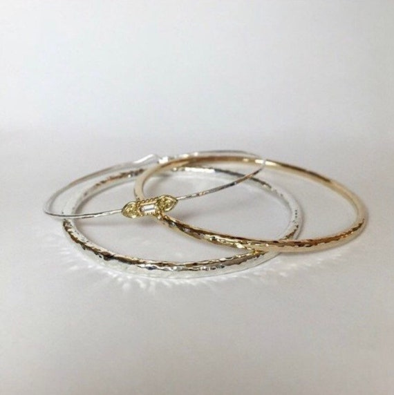 Hammered 14k Gold Bangle