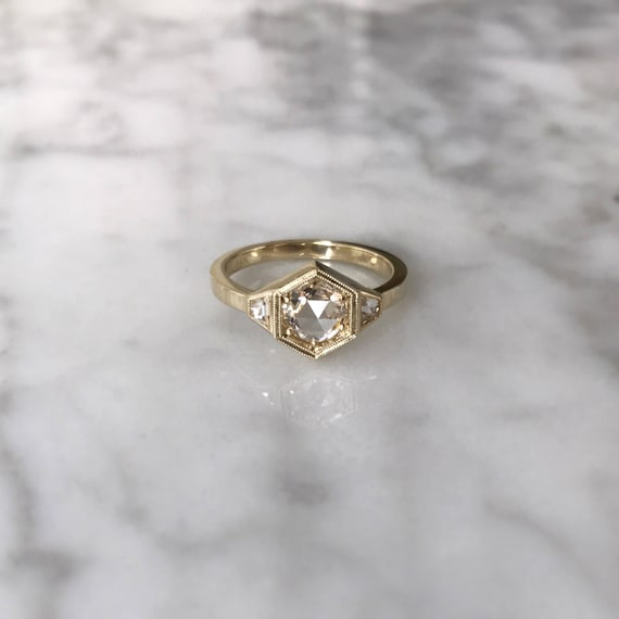 Three Stone Hexagon Engagement Ring