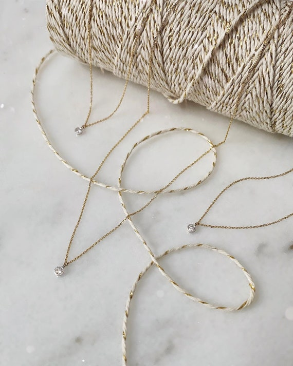 Gold Thread Necklace with Diamond