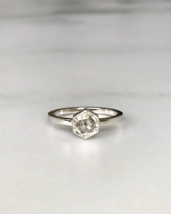 Hexagon Rose Cut Solitare Engagement Ring