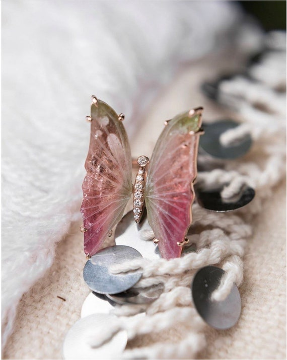 Tourmaline Butterfly Statement Ring