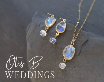 Bridesmaid gift set, Moonstone necklace and earrings set, bridal jewelry, bridesmaid proposal, bridesmaid earrings, gift for her