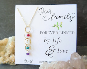 Generations Necklace, Family Birthstones Necklace, Mothers day gift for mom, mothers necklace, custom birthstone drop necklace, family tree