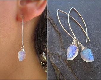 Moonstone Drop earrings, Carved leaf, boho earrings, Bridesmaid earrings, Bridesmaid gift,bridal jewelry, June Birthstone gift, gift for her
