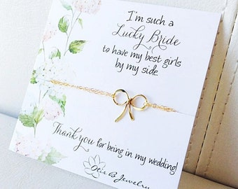 Gold or silver bow bracelet, Bridesmaid card and bracelet gift set, bridesmaid gifts, wedding jewelry, bridal party gifts, tying the knot,