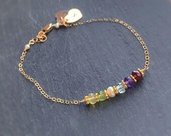 Birthstone Bar Bracelet, Family birthstones, Mothers day gift for mom, grandmas bracelet, mothers bracelet, custom family bracelet, gemstone