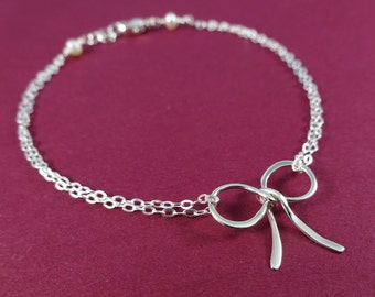 Set of 7 SEVEN Silver Bow bracelets, Tie the Knot bracelets for bridesmaids, bridesmaid gift, bridal party jewelry