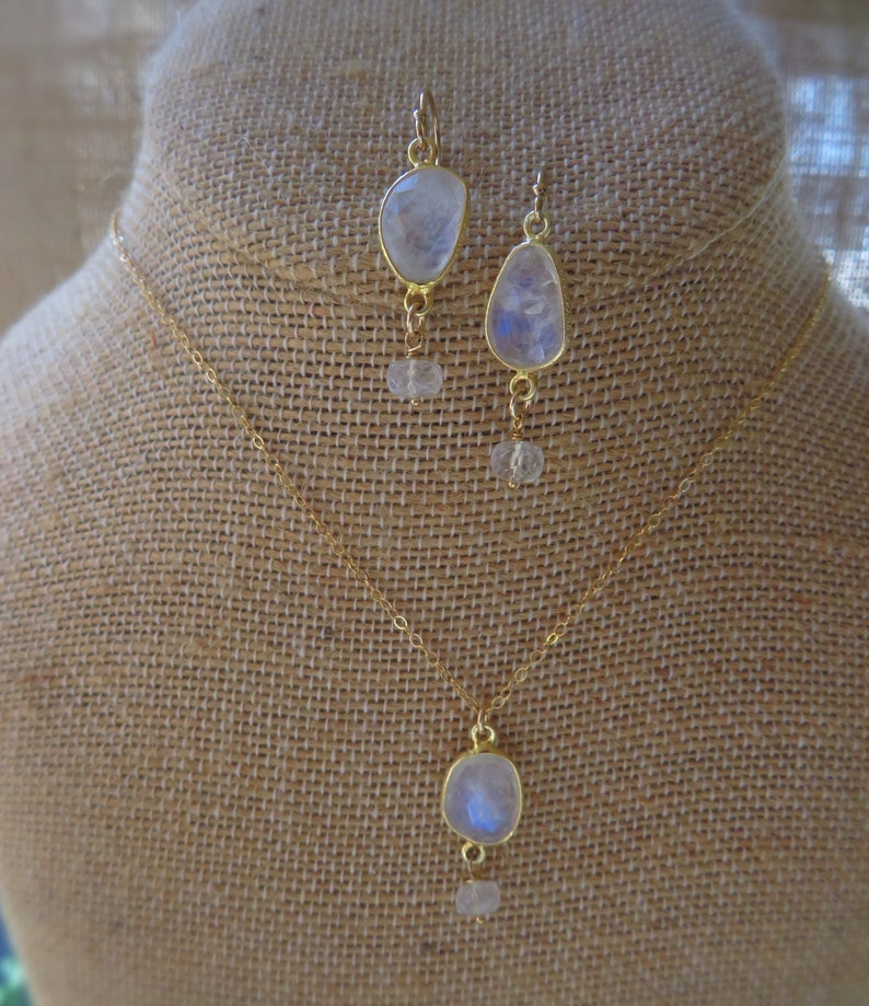 Moonstone necklace and earrings set bridesmaid earrings Bridesmaid gift set bridal jewelry gift for her bridesmaid proposal