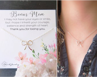 Step Mom Gift, Bonus Mom Necklace, Bow necklace, MOB gift, Foster mom gift, Godmother of bride gift, wedding gift for stepmom of bride