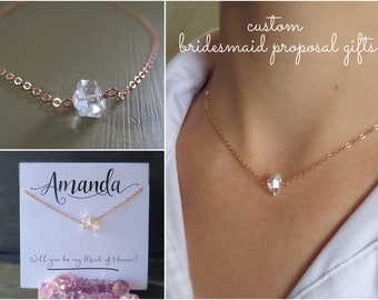 Bridesmaid proposal gift, raw crystal necklace, Bridesmaid gift, dainty necklace for bridesmaids, herkimer diamond necklace,april birthstone