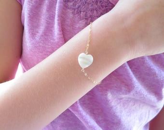 Flower Girl bracelet, mother of pearl heart bracelet, Junior bridesmaid, be my flower girl, children's bracelet, flower girl gift