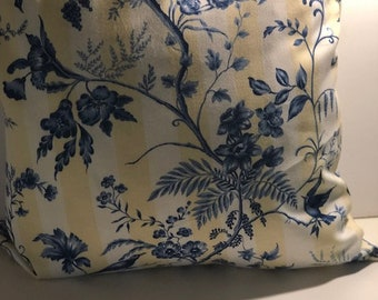 Handmade Blue Floral Pillow Cover