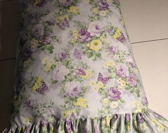 Handmade Shabby Chic Lavender Rose Pillow Case/Cover with or Without Ruffle