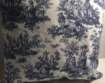 Handmade Blue and White Toile Pillow Case/Cover