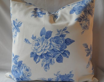 18 x 18 inch  Decorative Blue Rose  Pillow Cover, Throw Cover