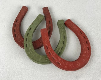 Vintage 1950s Rubber Horseshoes 50s Red Green Good Luck Horseshoes Game