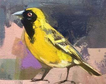 "Bird 27"" Original oil painting on canvas 12"" x 9"" x 1"" /Chance Lee/animal"