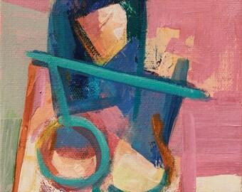 "Aya"" Original acrylic painting on canvas 6"" x 8"""