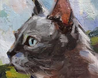 """Milo"""" Original oil painting on canvas 8"""" x 8""""/Chance Lee/pet portrait/animal/cat"""