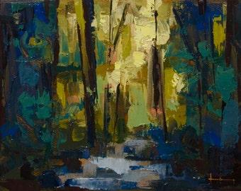 "Forrest II"" Original oil on canvas 6"" x 8"""