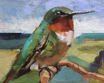 """Kingfisher"""" Original oil painting on canvas 8"""" x 6"""""""