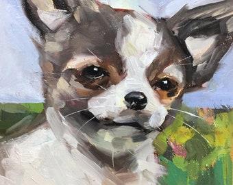 "Coco"" Original oil painting on canvas 8"" x 8""/Chance Lee/pet portrait/animal/dog"