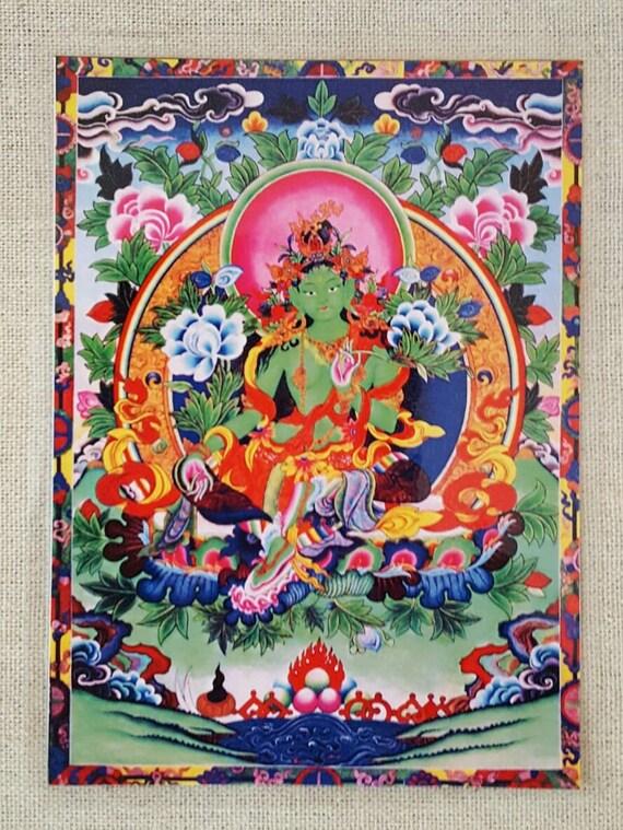 Green Tara Card Buddha Divine Mother Goddess Tara Altar