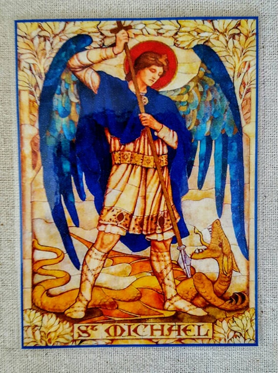 St  Michael, angel, Archangel Michael, Archangel Michael card, altar card,  prayer card, laminated card, double sided with invocation