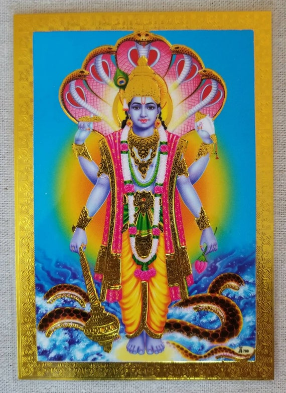 Vishnu card, Lord Vishnu, Hindu God, yoga, meditation card, altar card, prayer card, laminated card