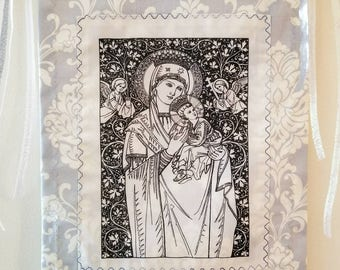 Mother Mary prayer flag, Mother Mary wall art, Mother Mary and baby Jesus Prayer Flag on Art Print